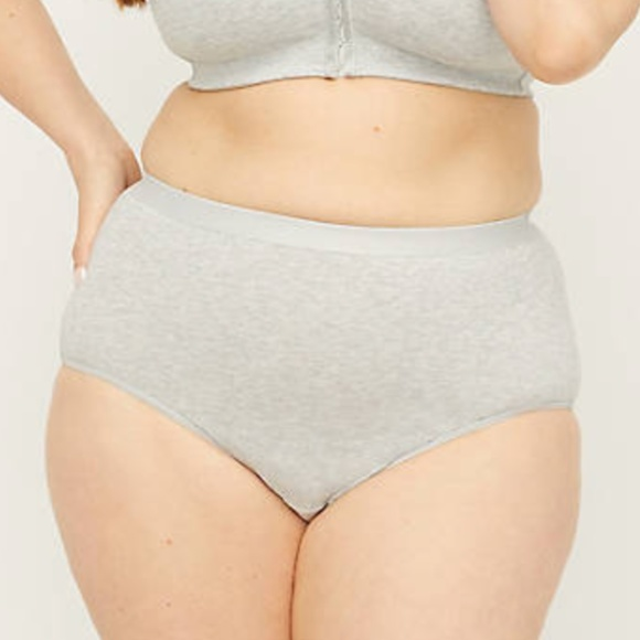 New Catherines Plus Size Cotton Full Brief Panty Gray White 5X